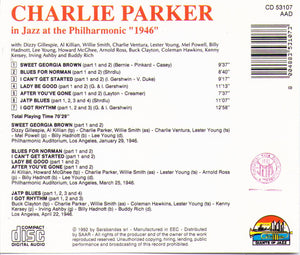 "Charlie Parker in Jazz at the Philharmonic ""1946"" - CD 53107"