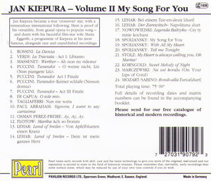 JAN KIEPURA - My Song for You - GEMM CD 9079