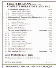 CLARA SCHUMANN - Complete Works for Piano, Vol.2 - 1-Cd Partridge 1130