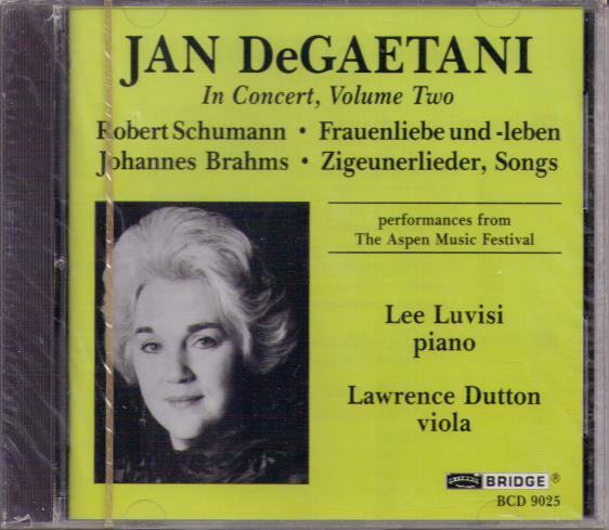 JAN DeGAETANI...In Concert, Volume Two ...BCD 9025
