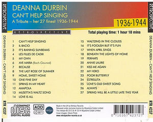 DEANNA DURBIN 'Can't Help Singing' - RTR 4237