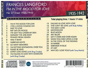 FRANCES LANGFORD 'I'm In The Mood  For Love' - RTR 4245