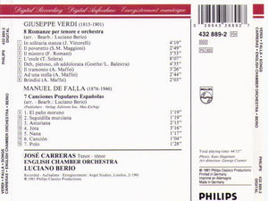 "JOSE CARRERAS ""Verdi-Falla-Songs"" 432 889-2"