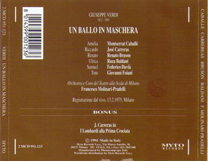 JOSE CARRERAS 'Un Ballo In Maschera' 2MCD 951.123 (2-cd Set)