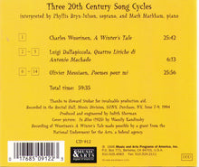 THREE 20th CENTURY SONG CYCLES - 1-CD-912