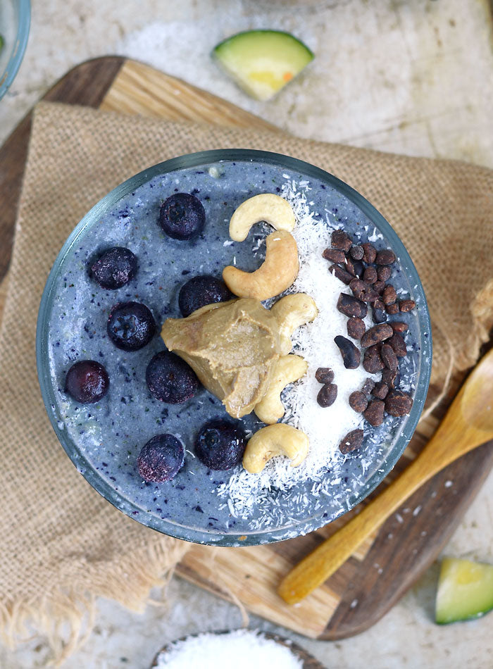 Breakfast - Low-Sugar Blueberry Coconut Smoothie Bowl