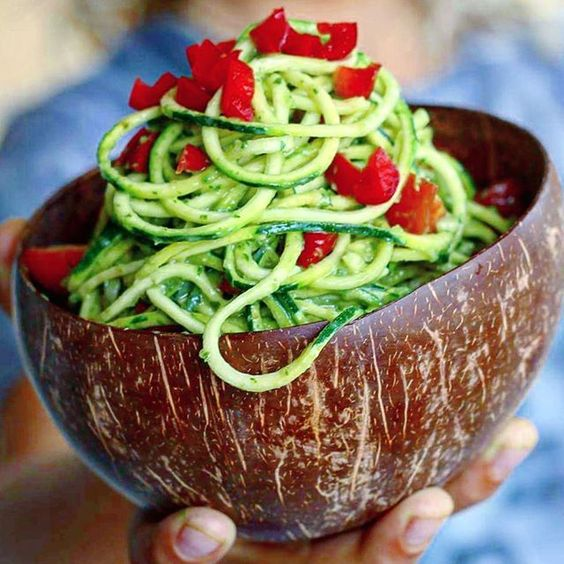 Dinner - Vegan raw Green Zucchini Pasta Salad Recipe
