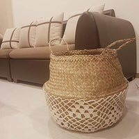 White Net Seagrass Belly Basket, Handmade, Foldable, Spacesaver Large, X-Large