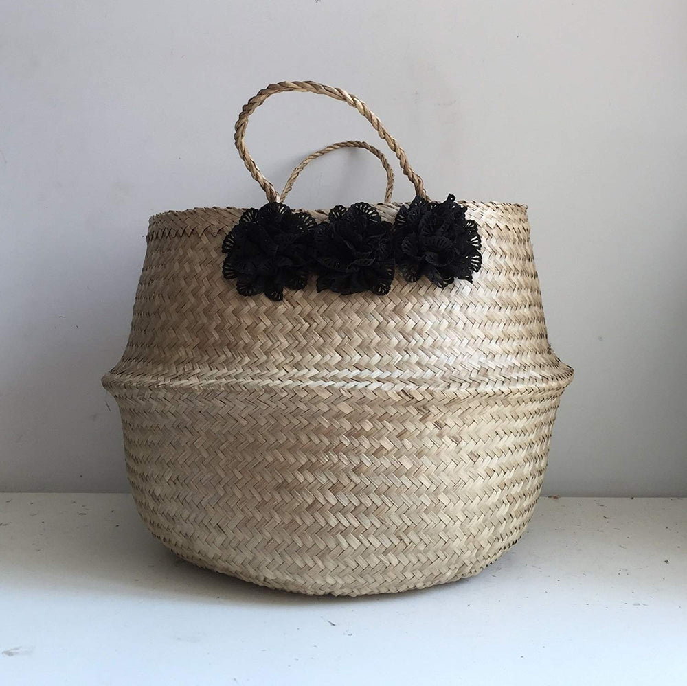 Black Flower Seagrass Belly Basket, Handmade, Foldable, Spacesaver X-Large