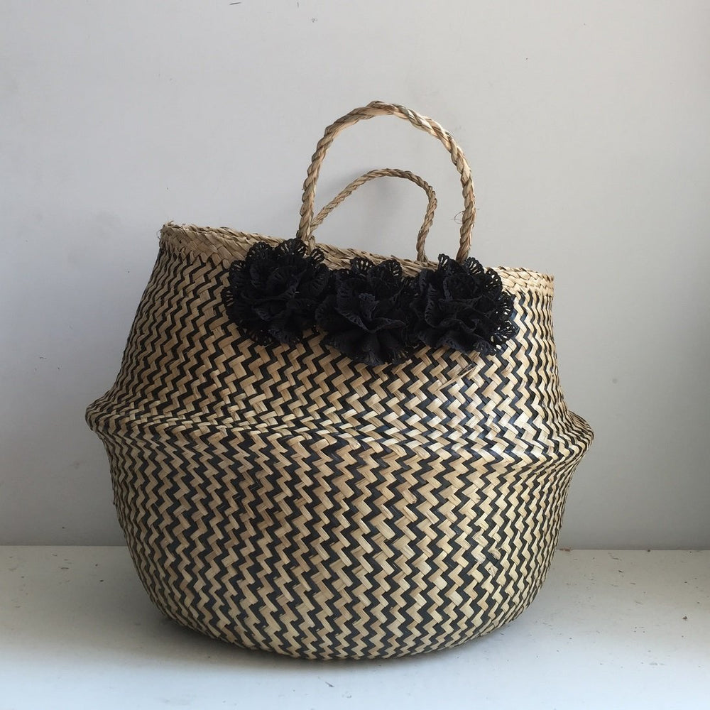 Black Flower Zigzag Seagrass Belly Basket, Handmade, Foldable, Spacesaver X-Large
