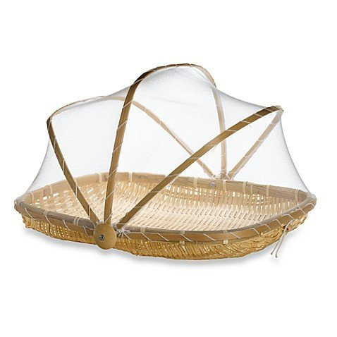 Bamboo food tray, natural Artisan handmade with mesh, 33 x 28 x 20 cm