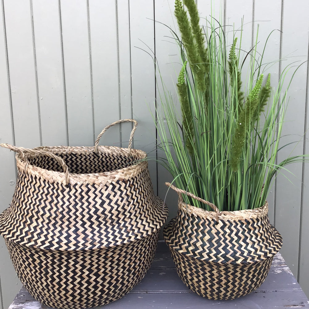 Black Zigzag Dyed Seagrass Belly Basket, Handmade, Foldable, Spacesaver Large, X-Large