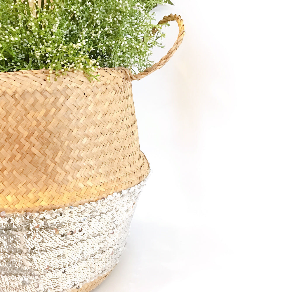 Silver Sequins Seagrass Belly Basket, Handmade, Foldable, Spacesaver X-Large