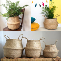 Natural Seagrass Belly Basket Handmade, Spacesaver Medium Large X-Large