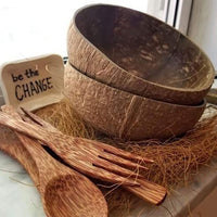 Cocoboo Organic Natural Coconut Shell Bowls Gift Set 2 with Bamboo Straw Set