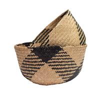 Black Paper Pattern Seagrass Belly Basket, Handmade, Foldable, Spacesaver Large