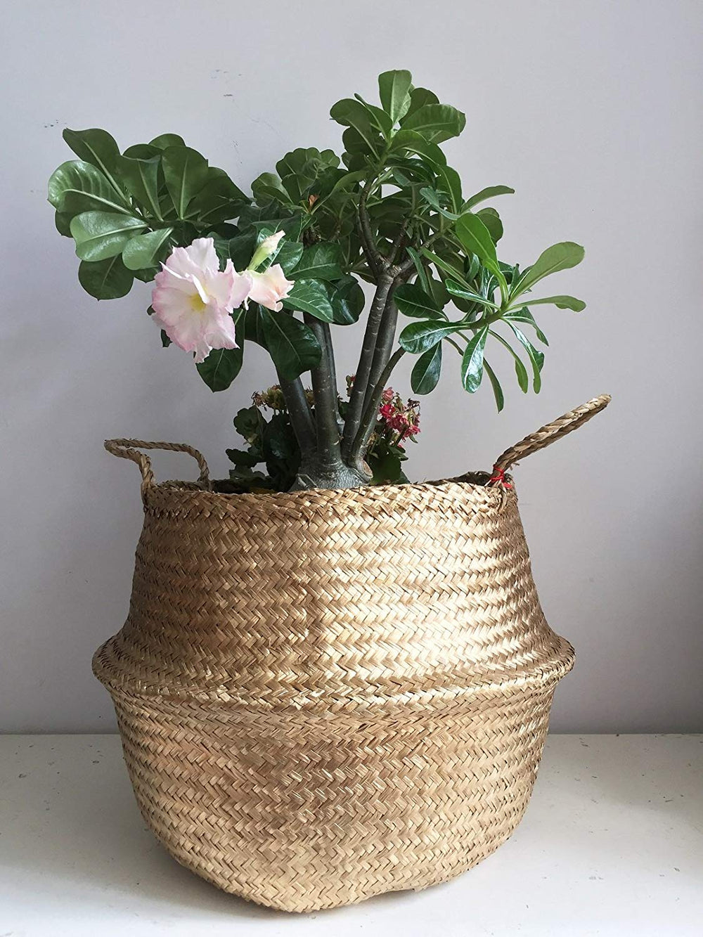 Gold Painted Seagrass Belly Basket, Handmade, Foldable, Spacesaver Large, X-Large