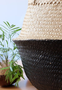 Black Dipped Seagrass Belly Basket, Handmade, Foldable, Spacesaver Large, X-Large