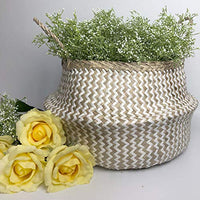 White Paper Seagrass Belly Basket, Handmade, Foldable, Spacesaver Large