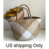 Handmade Tote Bag, Woman Natural Seagrass Bag With White Paper, 14 x 10 inches