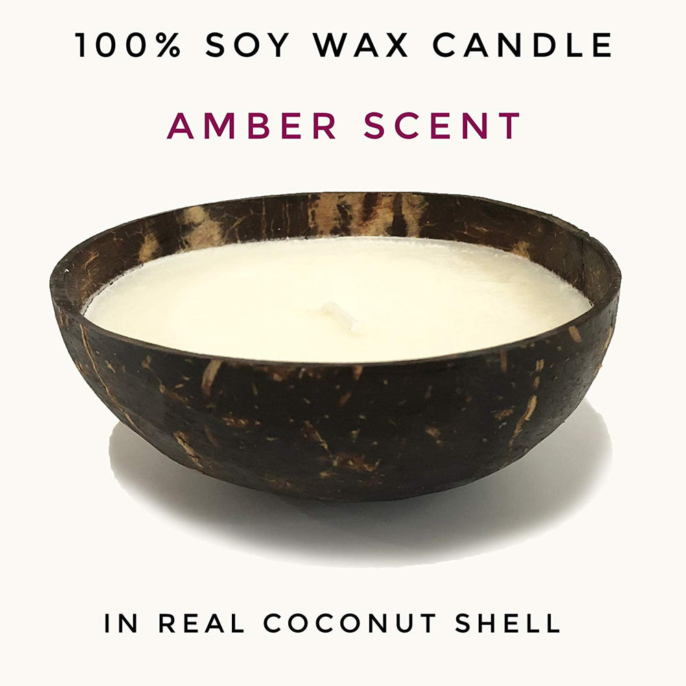 Cocoboo Soy Amber Candle in Coconut Shell