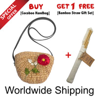 Cocoboo Rattan Handbag with Carnation