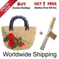 Cocoboo Rattan Handbag with Red Flowers