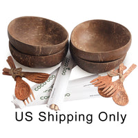 Cocoboo Organic Smooth Coconut Shell Bowls Gift Set 4