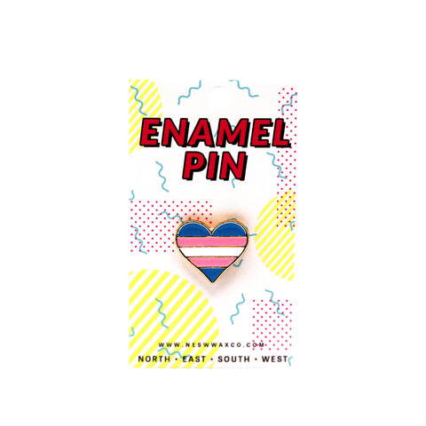 Striped Heart Enamel Pin