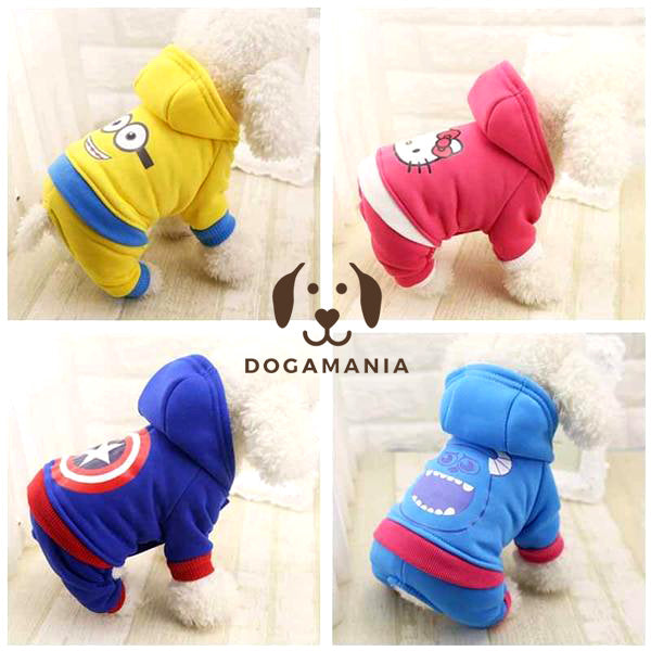 Funny Dog Clothes, Cartoon Hoodies (Capitan America, Minion, Hello Kiti)