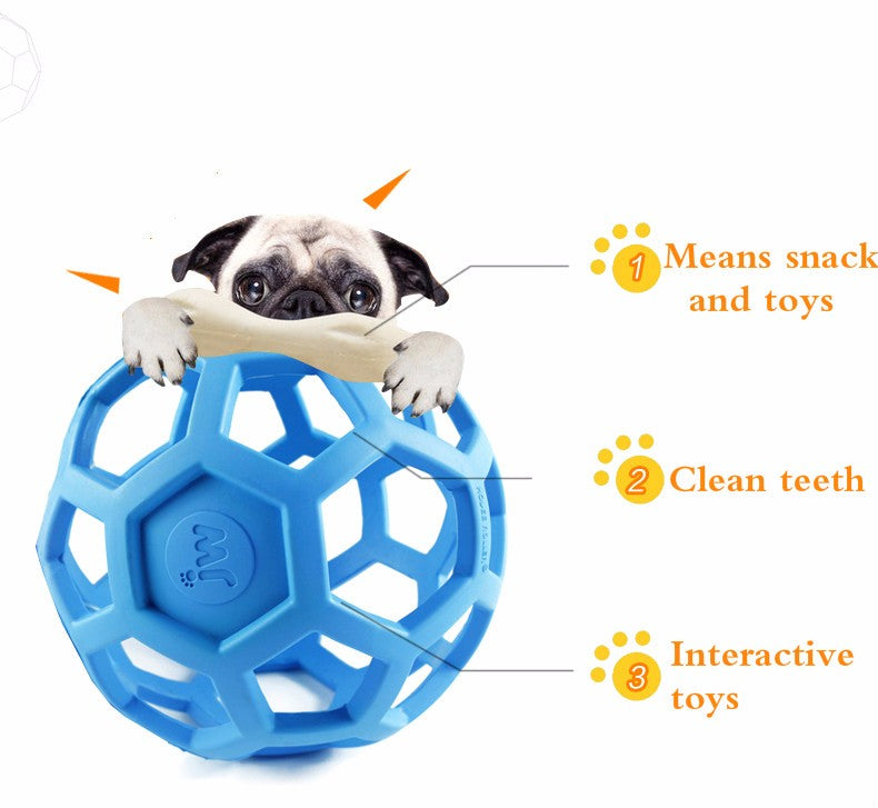 Drain Food Ball Dog Toy Natural Non-Toxic Rubber Geometric Toy Ball Bite-Resistant Teeth
