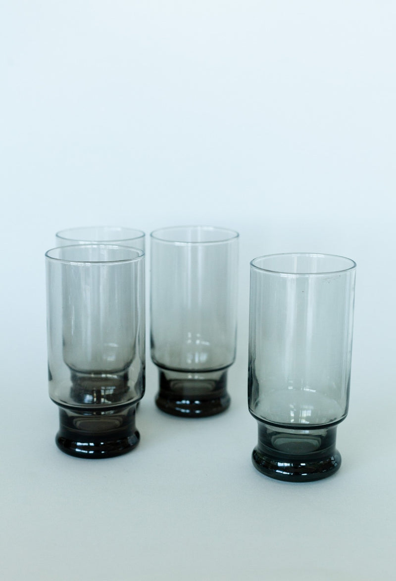Smoked Grey Tall Glass Set of 4 - Fallow Home.