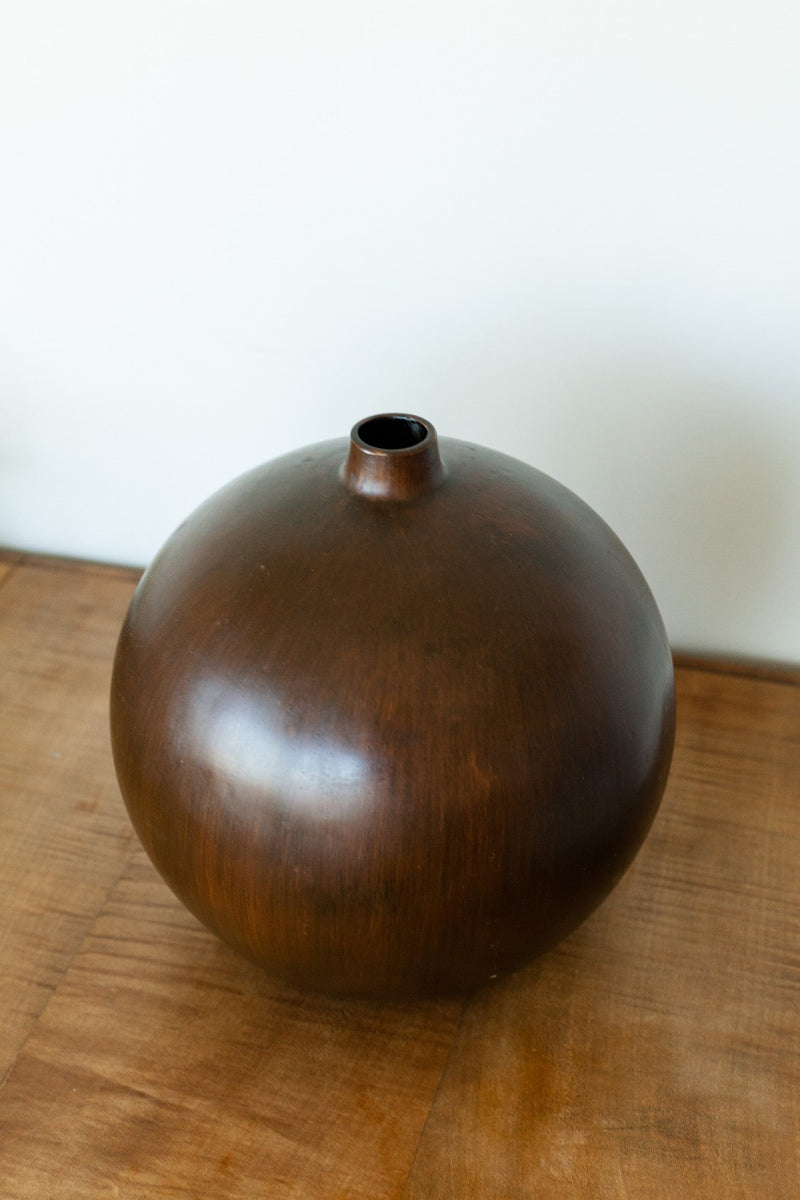MCM Wood Round Vase - Fallow Home.
