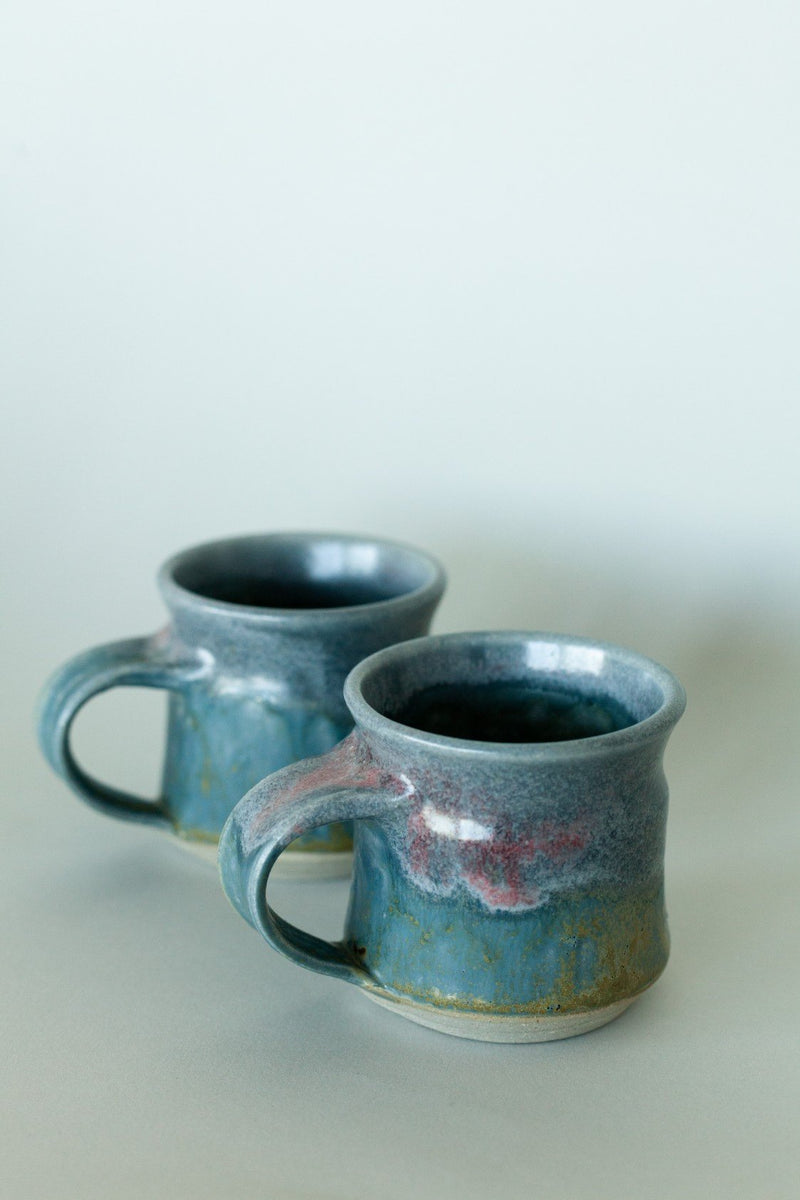 Set of Two Handmade Blue Ceramic Mugs - Fallow Home.