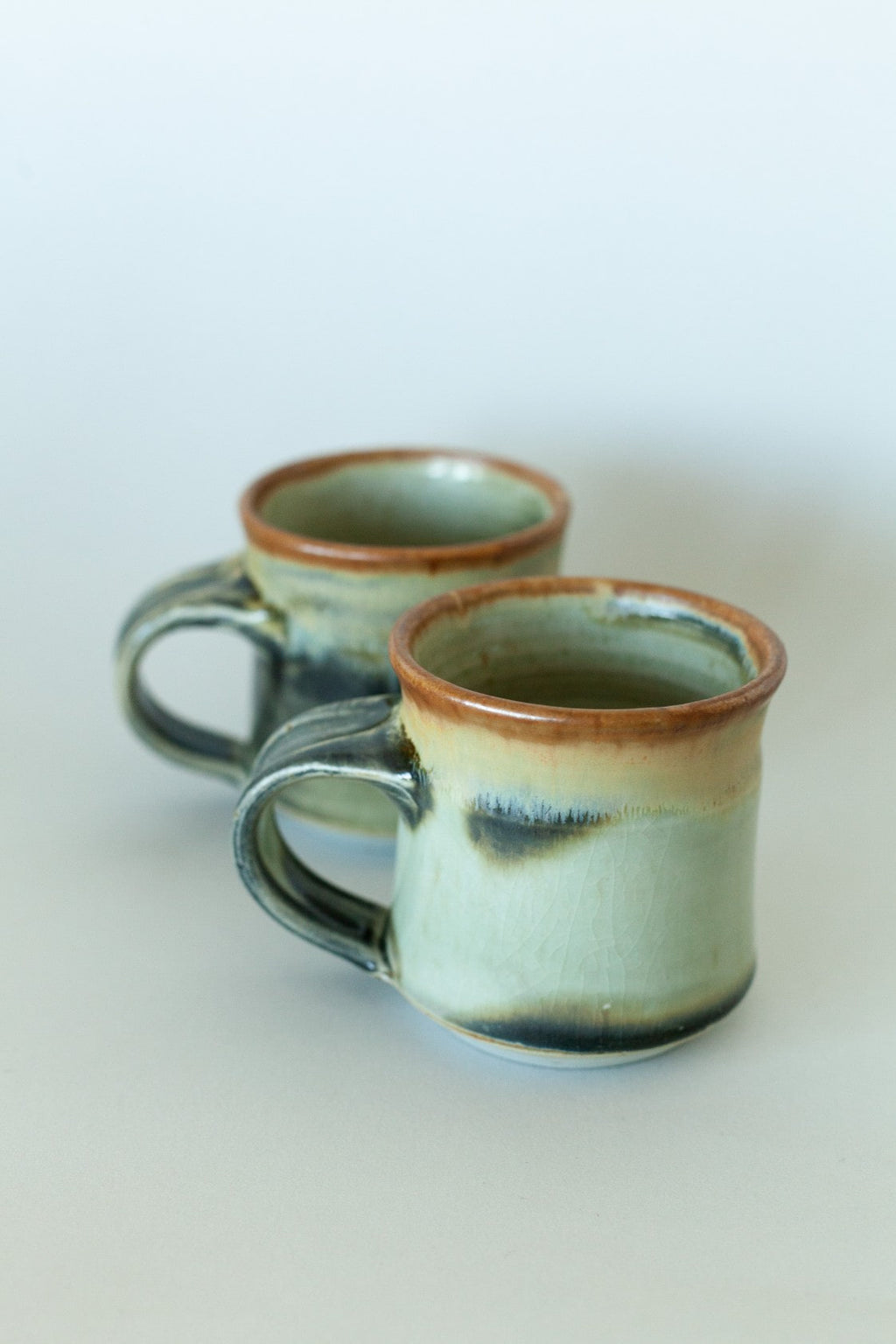 Set of Two Brown/Black Handmade Ceramic Mugs - Fallow Home.