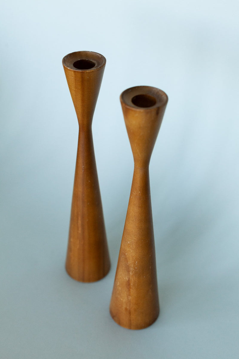 Set of 2 Tall Wooden Candleholders - Fallow Home.
