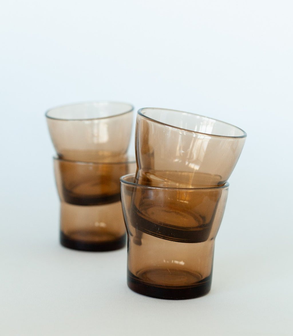 Set of 4  Short Tinted Brown Glasses - Fallow Home.