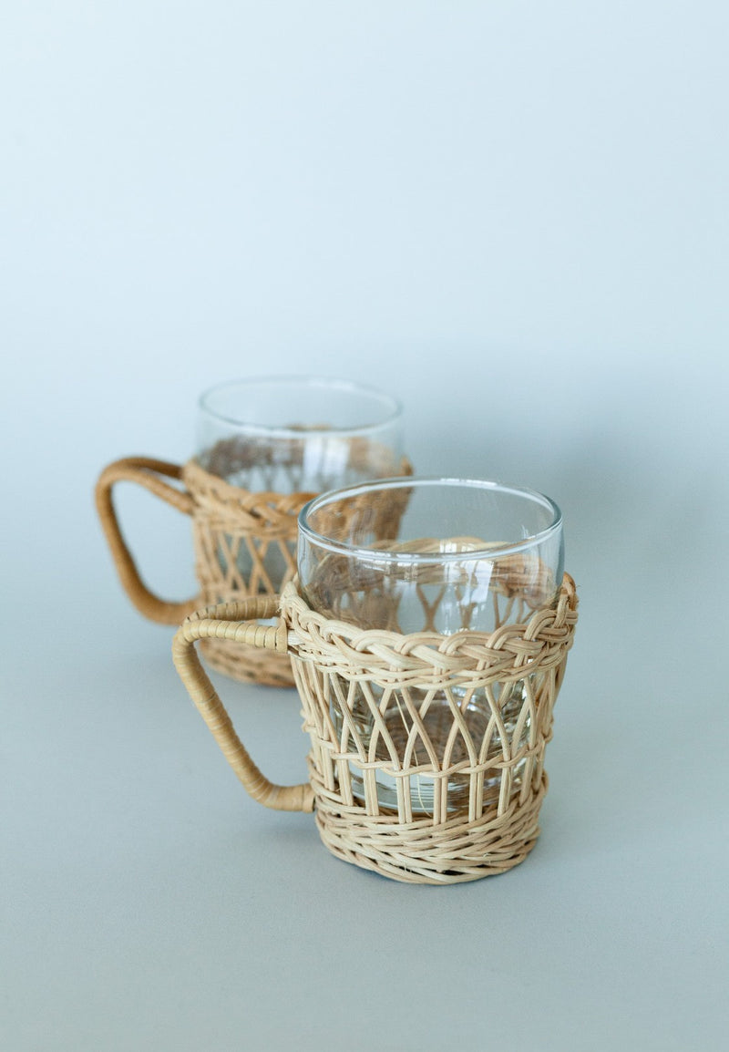 Set of 2 Glass Cups with Rattan Holder - Fallow Home.