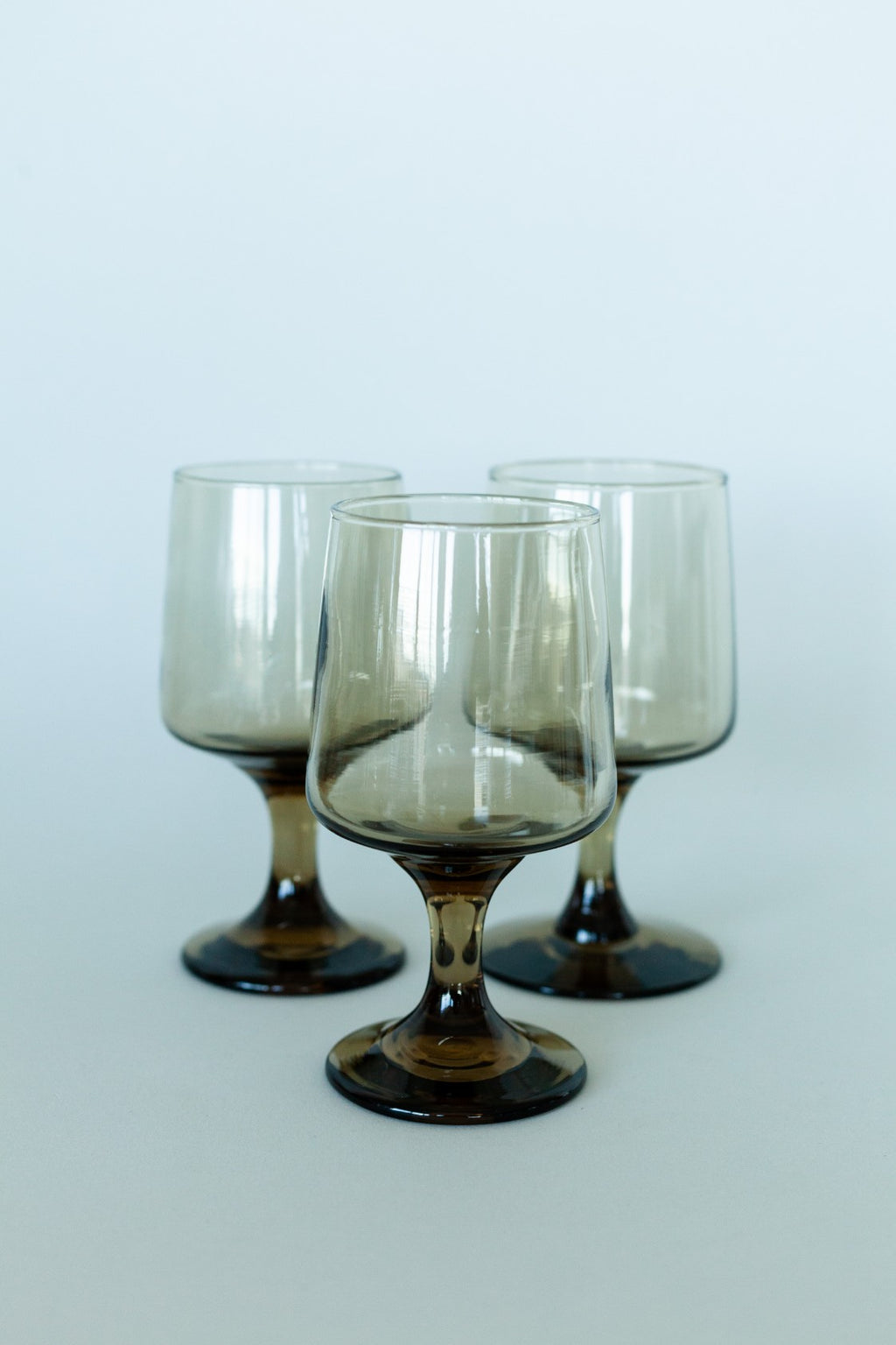 Set of Three Smokey Brown Glass Stemware - Fallow Home.