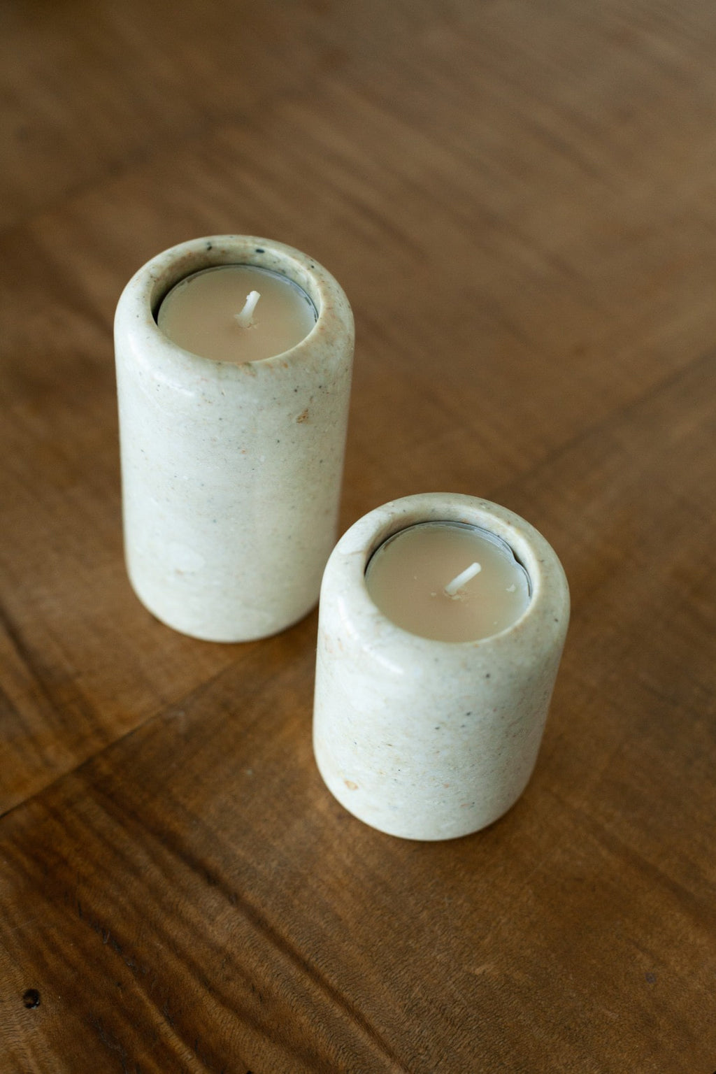 Set of 2 Cream Stone Tealight Holders - Fallow Home.