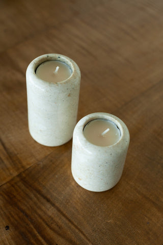 Set of 2 Stone Candleholders