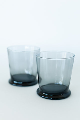 Set of Six Short Clear Glasses