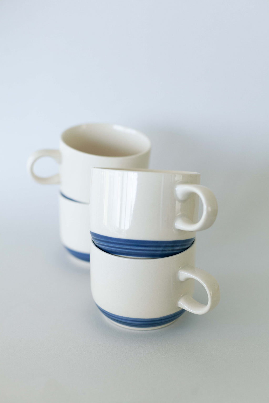 Set of 4 Cream & Blue Stoneware Mugs - Fallow Home.