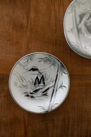 Set of Five White Small Plates