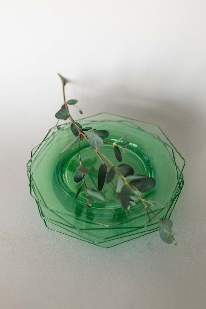 Set of 6 Tinted Green Hexagon Plates - Fallow Home.