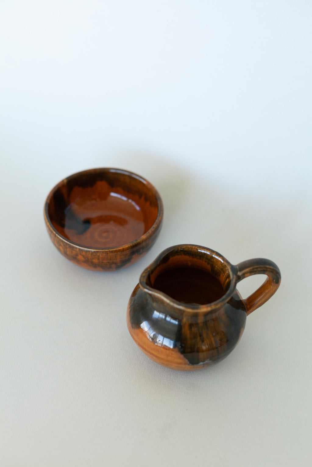 Brown Ceramic Sugar & Creamer Set - Fallow Home.