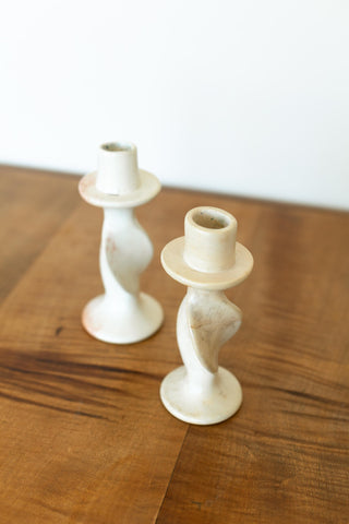 Set of 2 Cream Stone Tealight Holders