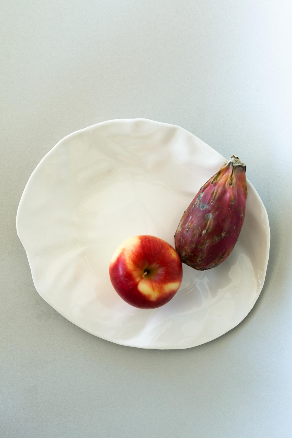 "White Handmade ""Scrunched"" Ceramic Plate - Fallow Home."