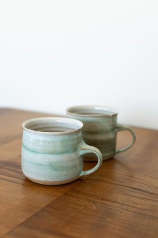 Set of 2 Blue Stoneware Mugs