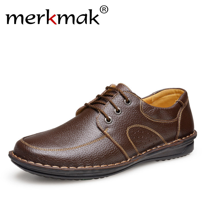 Merkmak New Fashion Men Casual Leather Shoes Genuine Leather Men's Flats Black Brown Soft Comfort Business Dress Mens Shoes